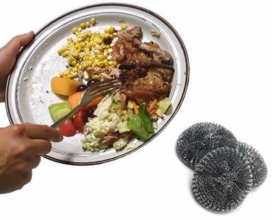 There are some food waste on the dish, which can be removed by galvanized steel scrubbers.